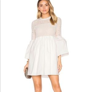 FLARE SLEEVE LACE MINI DRESS IN OFF WHITE